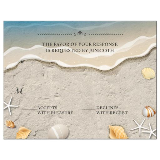 Waters Edge Shells and Sand Beach Wedding Response RSVP