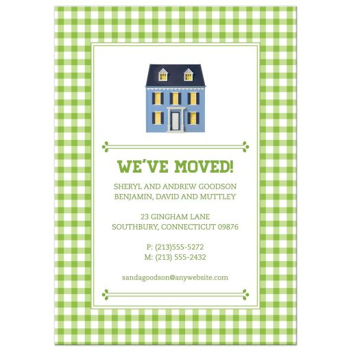 Green Gingham Dollhouse Moving Housewarming Announcement