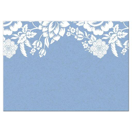 Modern Blue Floral Damask Wedding RSVP Response card