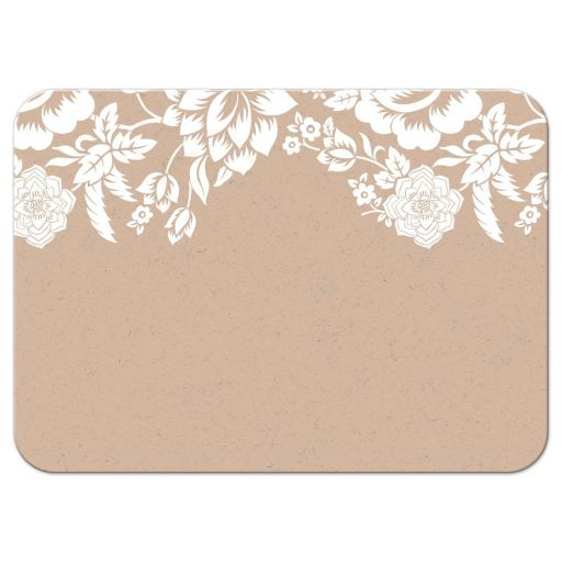 Modern Ecru Floral Damask Wedding RSVP Response card