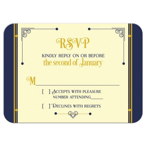 Art Deco Bar Mitzvah RSVP Card Classic Navy Blue Gold Ivory Front