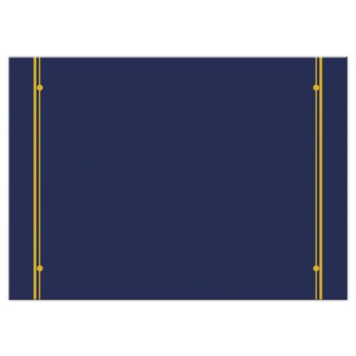 Art Deco Bar Mitzvah RSVP Card Classic Navy Blue Gold Ivory Back