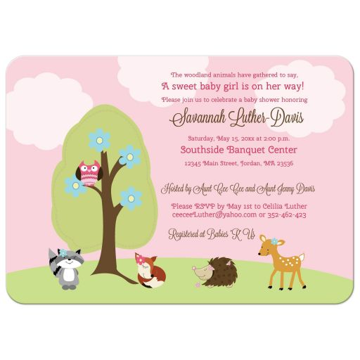 Woodland Girl Forest Animals Baby Shower Invitation
