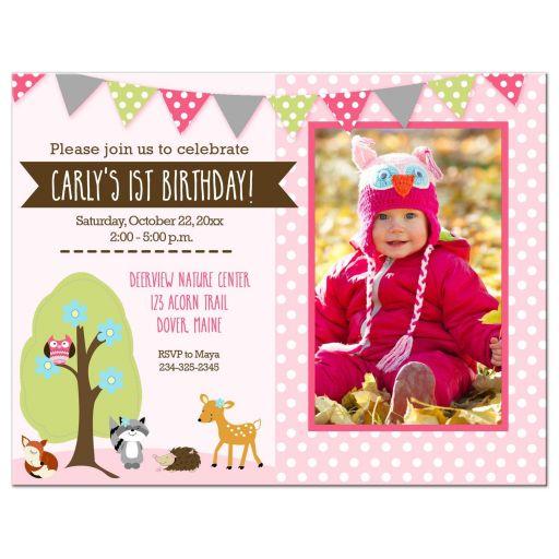 Woodland Girl Forest Animals Birthday Invitations