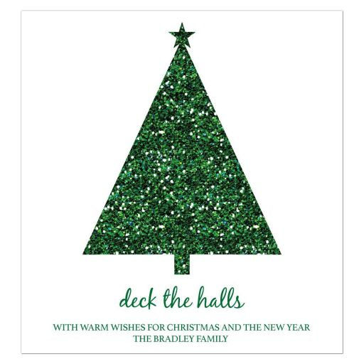 Glitter Look Green Christmas Holiday Wine Bottle Label