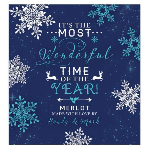 It's the most wonderful time of the year personalized snowflake Christmas wine  label