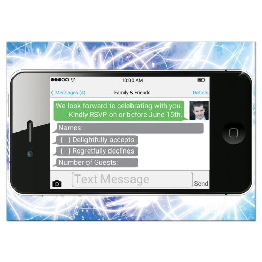 Bar Mitzvah RSVP card with a tennis and iPhone smart phone electronics technology theme.