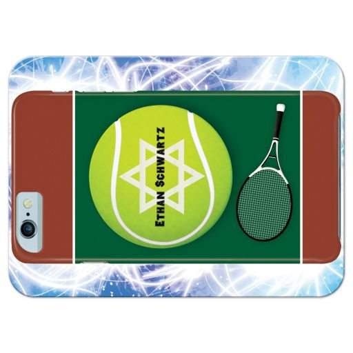 Great Bar Mitzvah response reply card with a tennis and iPhone smart phone electronics technology theme.