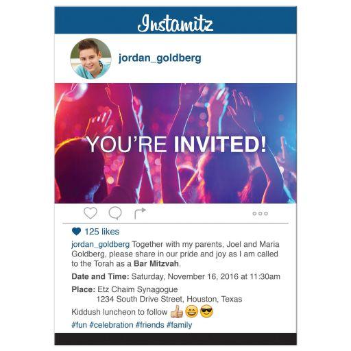 Fun and unique photo sharing social media themed Bar Mitzvah invitation
