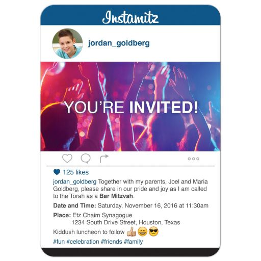 ​Fun and unique photo sharing social media themed Bar Mitzvah invitation​