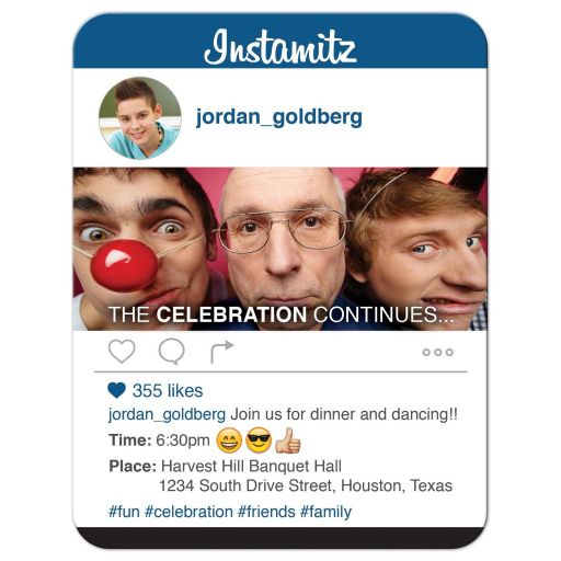 Fun and unique photo sharing social media themed Bar Mitzvah reception card