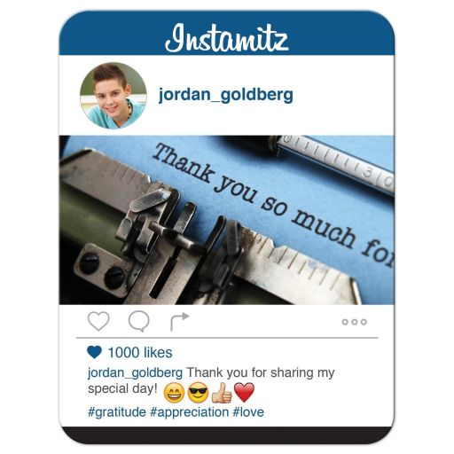 Fun and unique photo sharing social media themed Bar Mitzvah thank you card