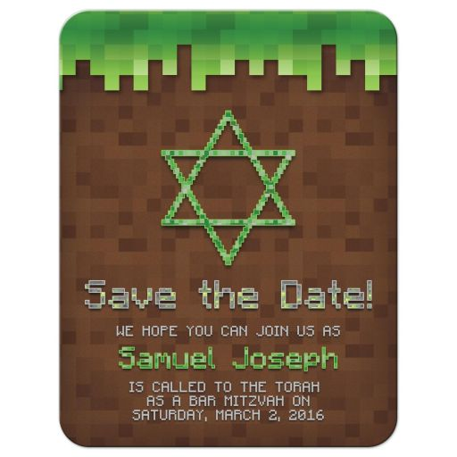 Mining Video Game Pixel Graphic Bar Mitzvah Save the Date Invitation Front