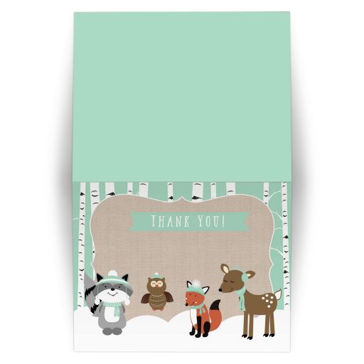 Winter Woodland Forest Animlas Folded Thank you note