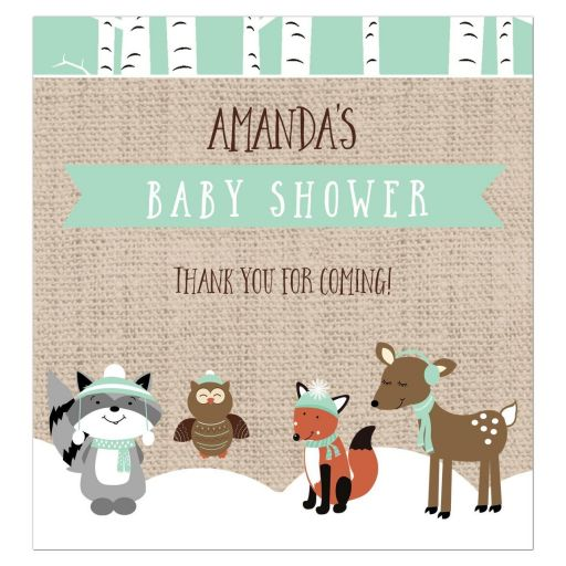 Winter Woodland Baby Shower Party Favor Wine Labels