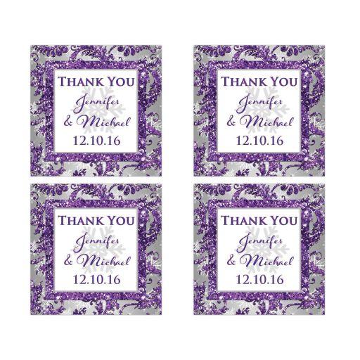 Winter Wonderland Wedding Favor Sticker Purple Silver White