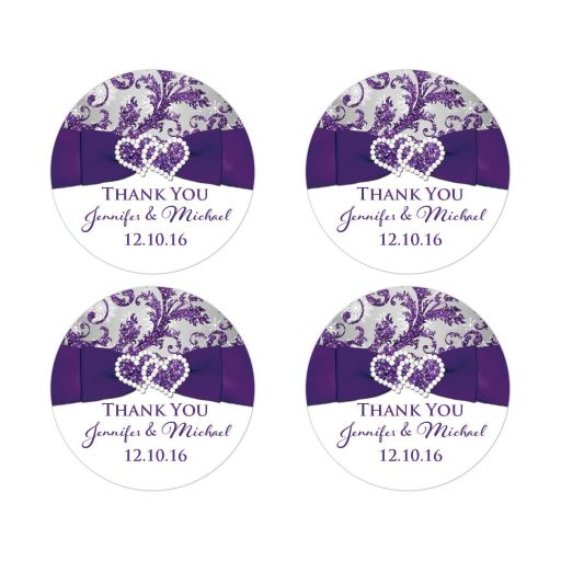 "Great personalized 2"" round ice purple, silver gray and white snowflakes FAUX glitter floral damask pattern wedding favor thank you stickers."