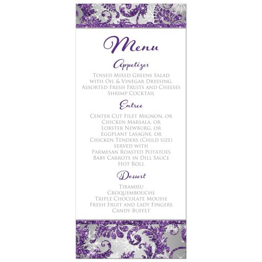​Best winter wonderland wedding menus in ice purple, silver, and white snowflakes with ribbon and joined jewel and glitter hearts.