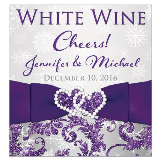 Great personalized winter wonderland wedding wine label beverage label in ice purple, silver, and white snowflakes with ribbon and joined jewel and glitter hearts.