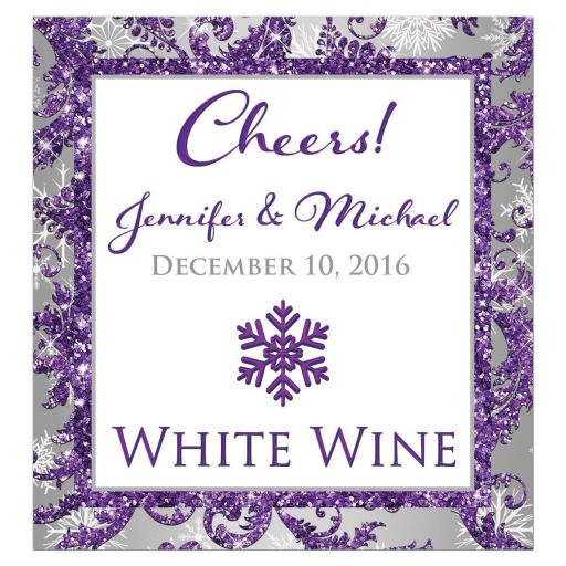 ​Best personalized winter wonderland wedding wine label beverage label in ice purple faux glitter damask, silver grey, and white snowflakes.