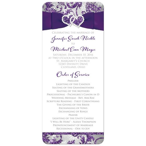 Great winter wonderland wedding programs in ice purple, silver, and white snowflakes with ribbon and joined jewel and glitter hearts.