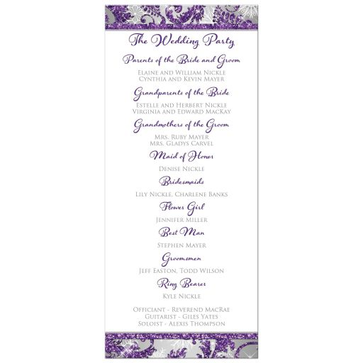 ​Best winter wonderland wedding order of service card in ice purple, silver, and white snowflakes with ribbon and joined jewel and glitter hearts.