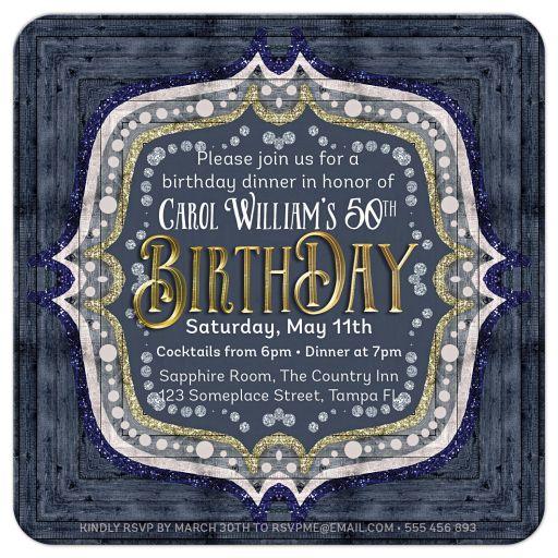 Denim Blue Glam Gold 50th Birthday Invitations