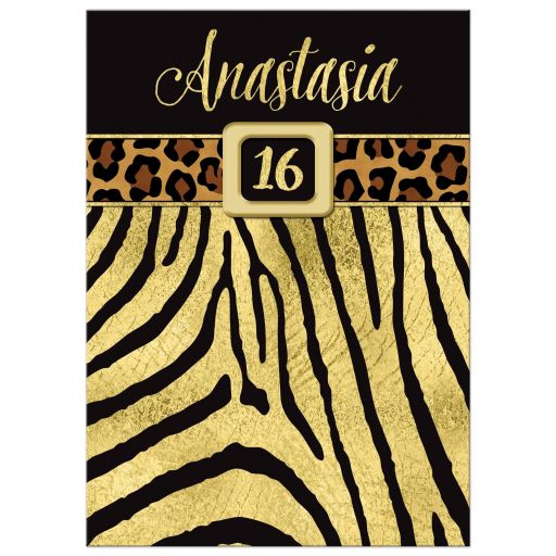 Great black and gold zebra and leopard wild animal prints 16th birthday party invitation.