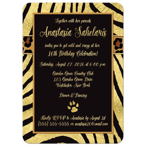 ​Best black and gold zebra and leopard wild animal prints 16th birthday party invites.