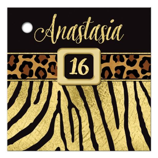 Personalized black and gold zebra and leopard wild animal prints 16th birthday party favor tag.
