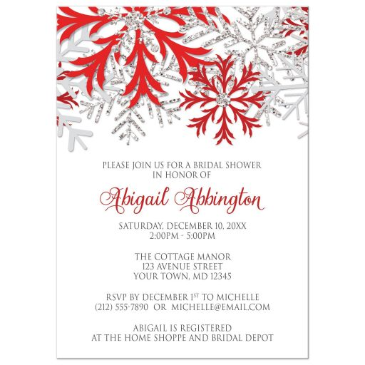 Bridal Shower Invitations - Winter Snowflake Red Silver