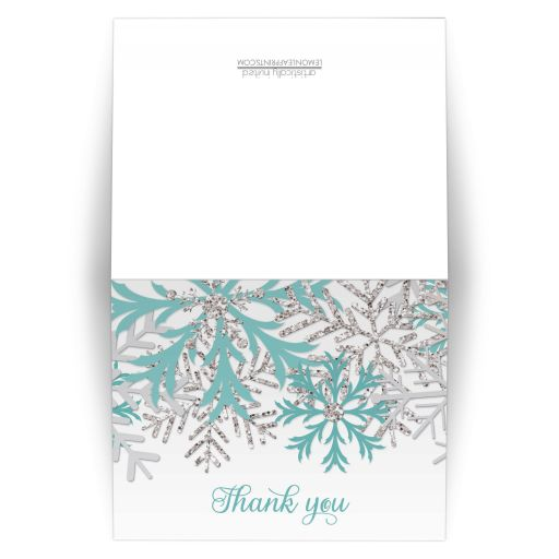 Thank You Cards - Winter Snowflake Teal Silver