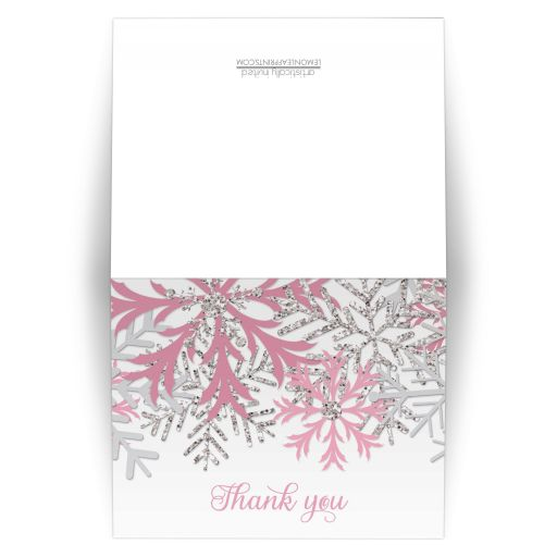 Thank You Cards - Winter Snowflake Pink Silver