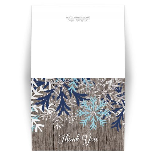 Thank You Cards - Snowflake Aqua Navy Winter Wood