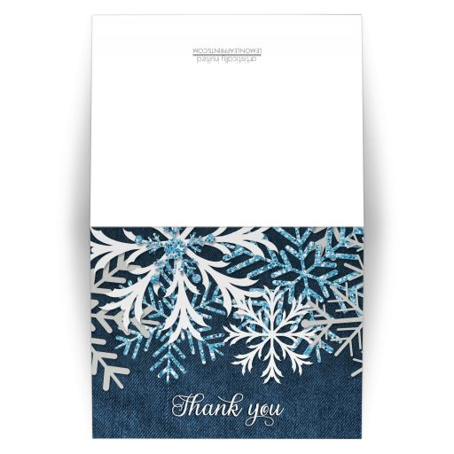 Thank You Cards - Rustic Snowflake and Denim