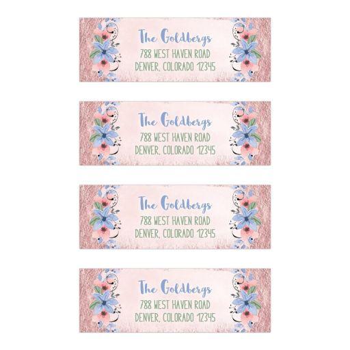 Rose quartz pink and serenity blue watercolor wildflower floral Bat Mitzvah return address mailing labels