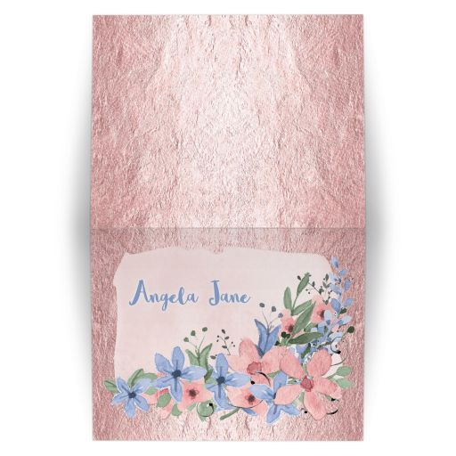 Rose quartz pink and serenity blue watercolor wildflower floral Bat Mitzvah thank you card