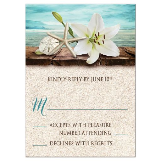 RSVP Reply Cards - Beach Lily Seashells and Sand