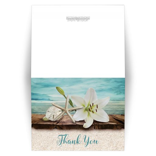 Thank You Cards - Beach Lily Seashells and Sand