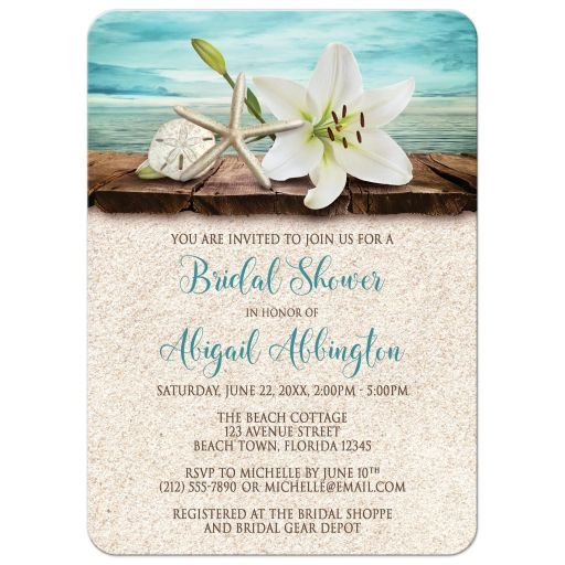 Bridal Shower Invitations - Beach Lily Seashells and Sand