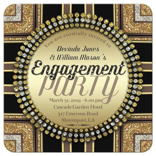 Art Deco Glam Engagement Party Invitation template