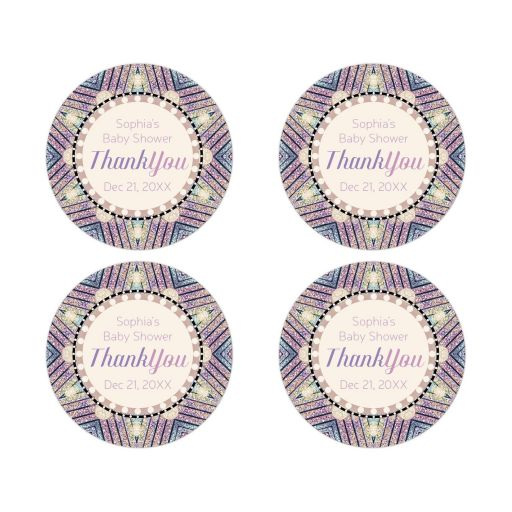 Glittery Pink Blue Round Stickers