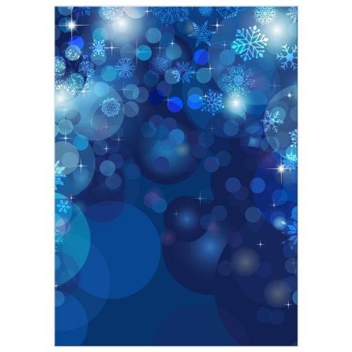 Bokeh Flowers Wedding: Snowflake Blue Bokeh Winter Wedding Invitation