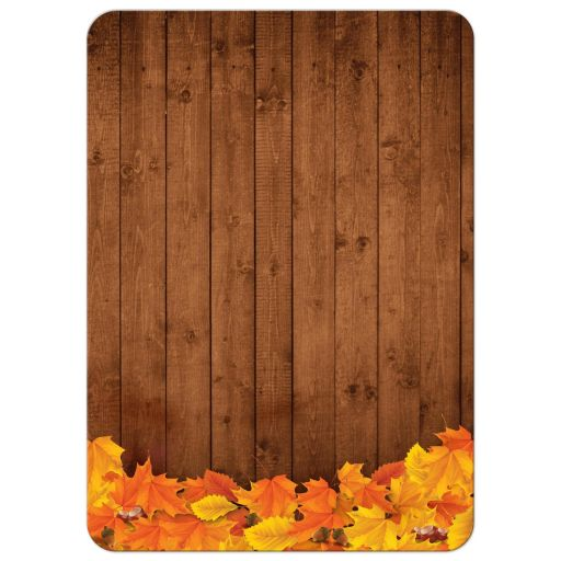 Rustic Autumn Pumpkin and Leaves Chalkboard Frame Wedding Invitation