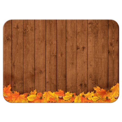 Rustic Autumn Pumpkin and Leaves Chalkboard Frame Wedding Reply RSVP Card
