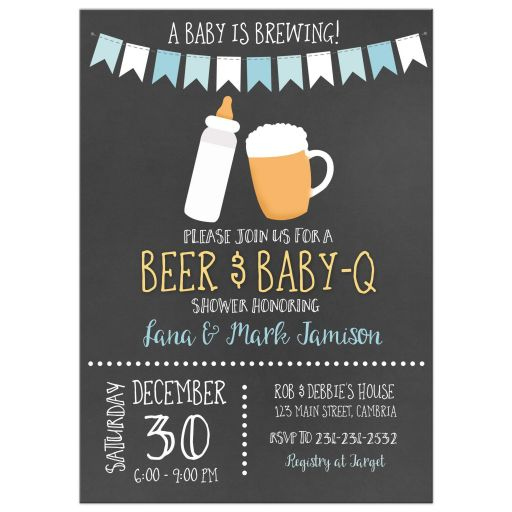 Baby is Brewing BBQ Baby-Q Co-Ed Chalkboard Baby Shower Invitations
