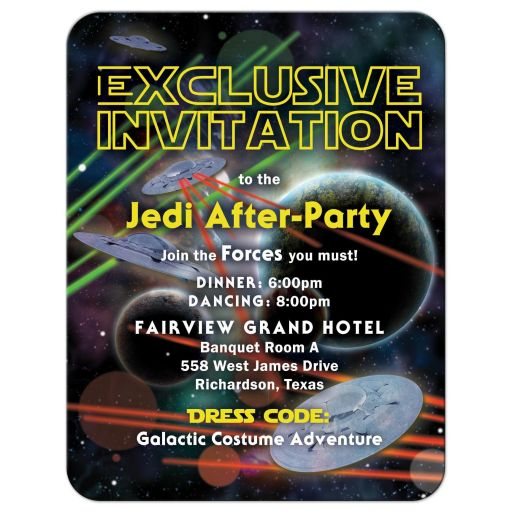 Star or space war movie or video game Bar Mitzvah reception party card
