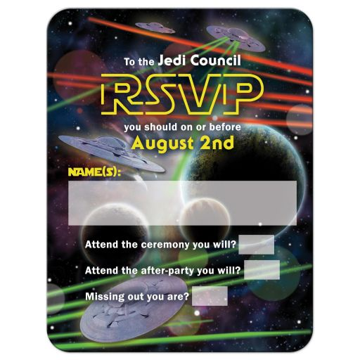 Star or space war movie or video game Bar Mitzvah RSVP Card