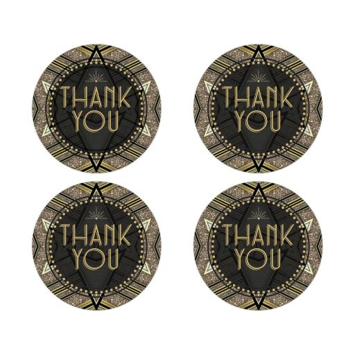 ArtDeco Glamour Gatsby Thank You Stickers