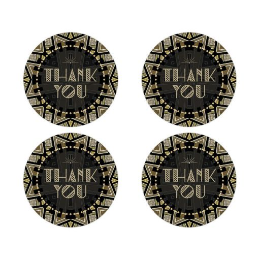Gold Black Geometric Art Deco Thank You